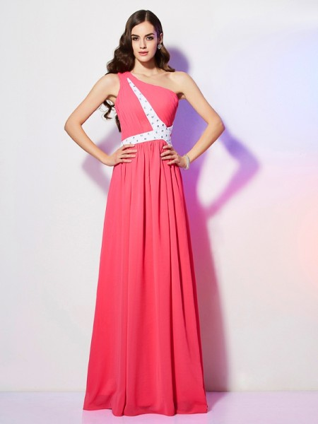 A-Line/Princess One-Shoulder Floor-Length Chiffon Dresses with Beading