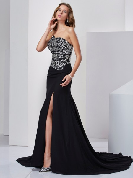 A-Line/Princess Strapless Sleeveless Chiffon Sweep/Brush Train Evening/Formal Dresses with Beading