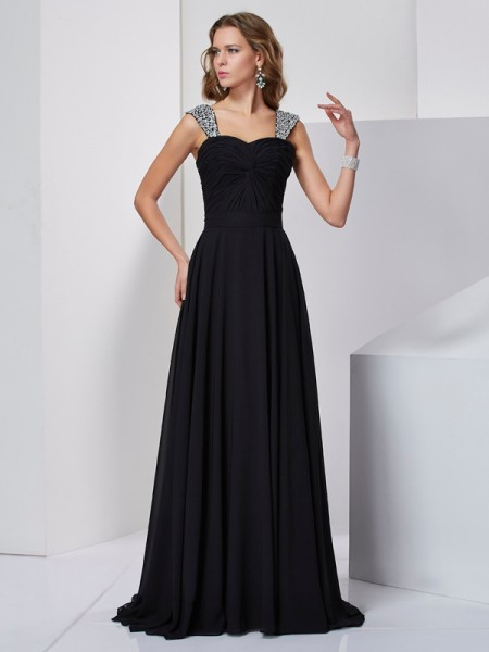 Sheath/Column Straps Sleeveless Sweep/Brush Train Chiffon Dresses with Beading