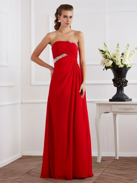 Sheath/Column Sleeveless Strapless Chiffon Floor-Length Long Dresses with Beading
