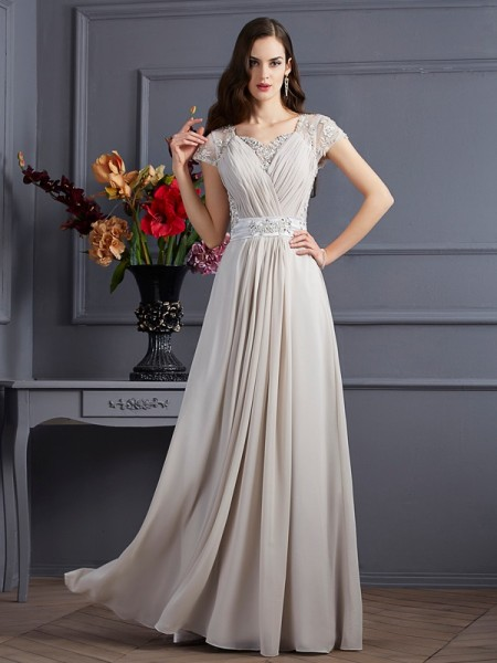 A-Line/Princess Sweetheart Short Sleeves Chiffon Floor-Length Dresses with Applique with Beading
