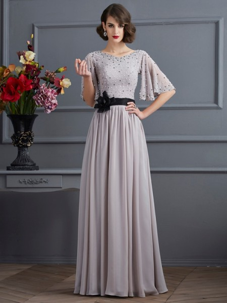 A-Line/Princess High Neck 1/2 Sleeves Chiffon Long Dresses with Beading
