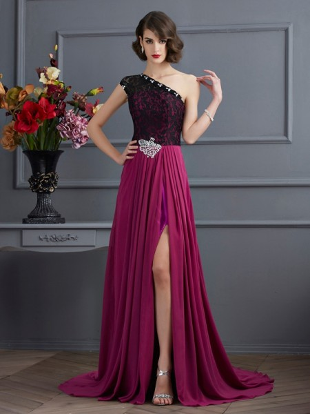 A-Line/Princess One-Shoulder Sleeveless Sweep/Brush Train Chiffon Dresses