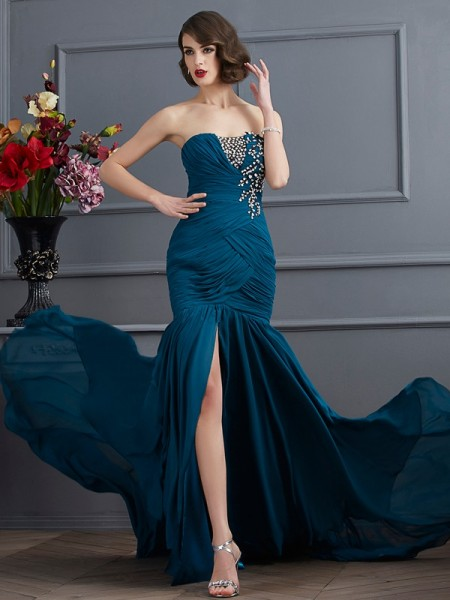 Trumpet/Mermaid Strapless Sleeveless Sweep/Brush Train Chiffon Prom/Evening Dresses with Applique