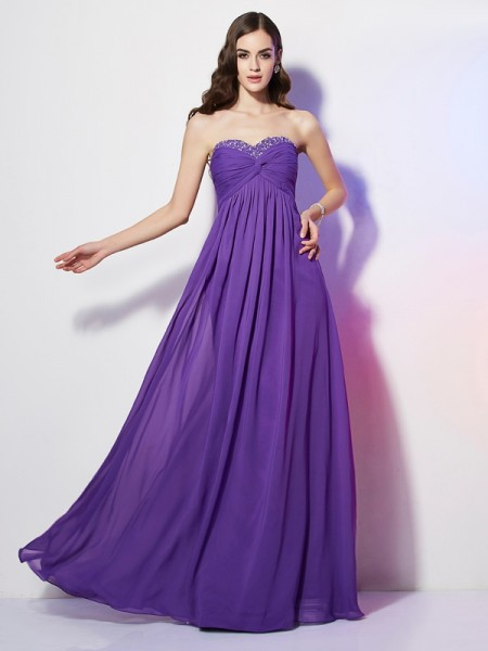 A-Line/Princess Sweetheart Sleeveless Chiffon Long Dresses with Beading