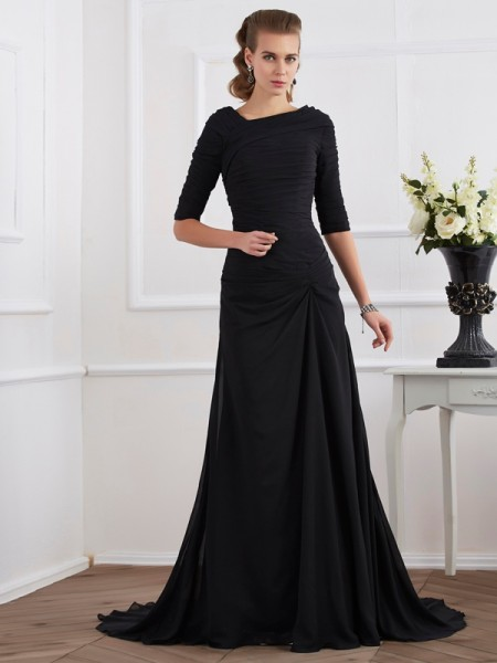 A-Line/Princess Chiffon 1/2 Sleeves Sweep/Brush Train Dresses with Pleats