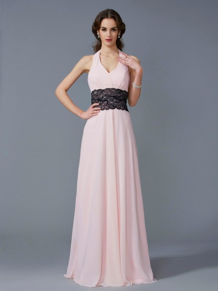 A-Line/Princess Halter Sleeveless Floor-Length Chiffon Dresses with Applique