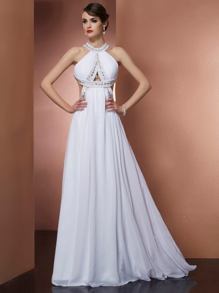 A-Line/Princess Bateau Sleeveless Sweep/Brush Train Chiffon Prom/Evening Dresses with Beading