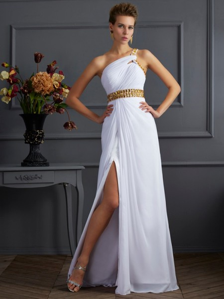 A-Line One-Shoulder Chiffon Long Evening/Prom/Formal Dresses with Beading