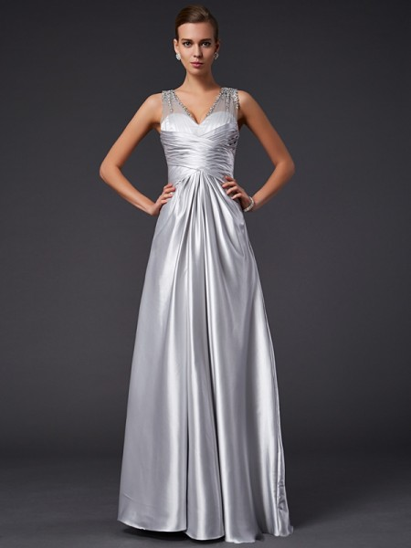 A-Line/Princess V-neck Floor-length Sleeveless Elastic Woven Satin Dresses with Beading