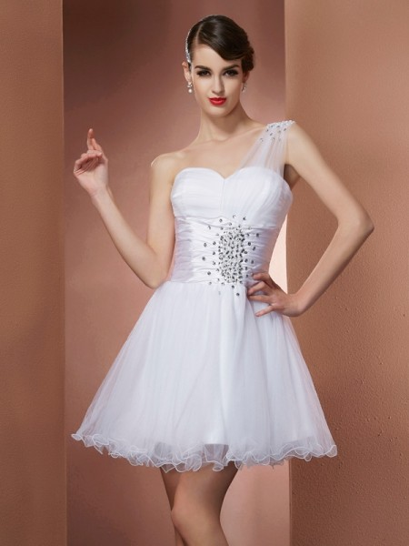 A-Line/Princess One-Shoulder Sleeveless Short/Mini Satin Dresses with Beading