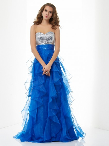 A-Line/Princess Sweetheart Sleeveless Sweep/Brush Train Satin Dresses