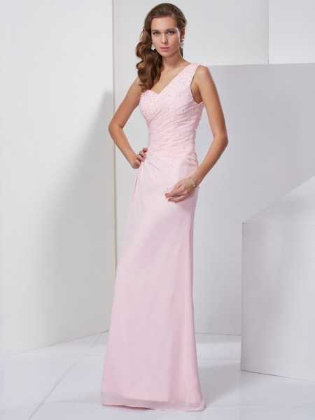 Sheath/Column Sleeveless One-Shoulder Floor-Length Chiffon Dresses with Beading