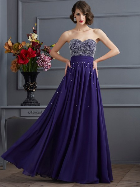 A-Line Sweetheart Sleeveless Floor-Length Chiffon Prom/Evening Dresses with Beading
