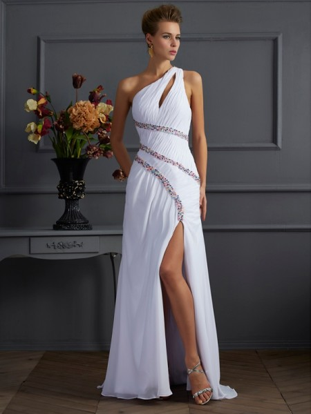 Column One-Shoulder Sleeveless Sweep/Brush Train Chiffon Dresses with Beading