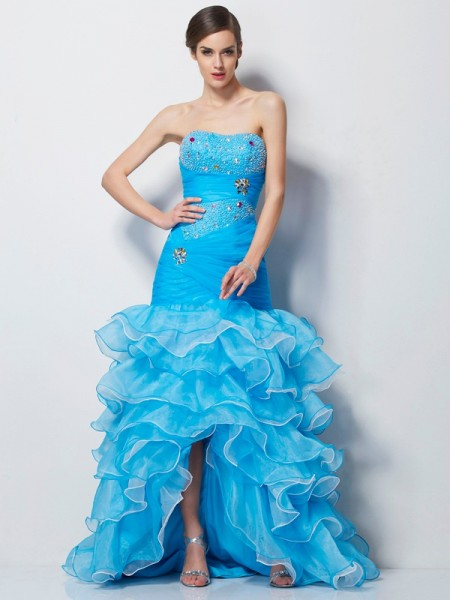 Trumpet/Mermaid Sweetheart Sleeveless Tulle Asymmetrical Dresses with Beading