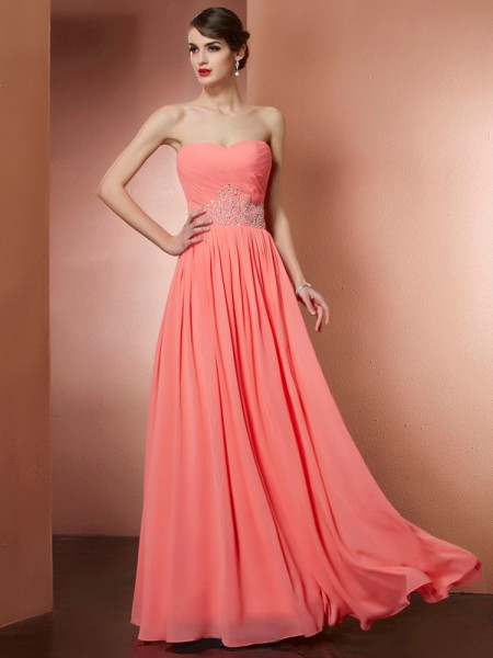 A-Line/Princess Strapless Sleeveless Chiffon Long Prom/Evening Dresses with Pleats Beading