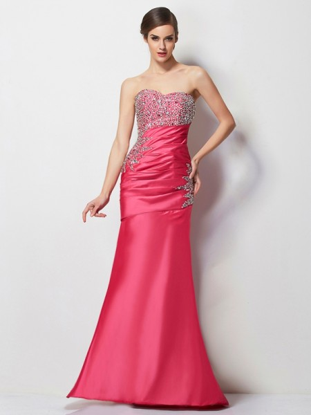Trumpet/Mermaid Sweetheart Floor-Length Taffeta Dresses with Pleats Beading