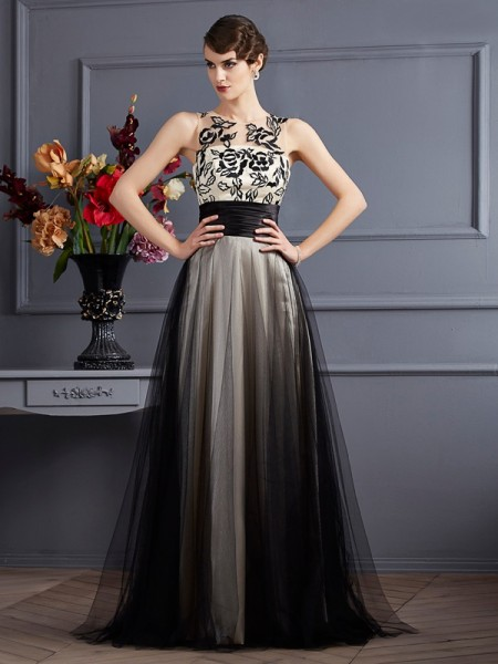 A-Line/Princess Scoop Sleeveless Silk like Satin Long Dresses