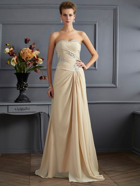 A-Line/Princess Sweetheart Sleeveless Sweep/Brush Train Chiffon Evening/Formal Dresses with Beading
