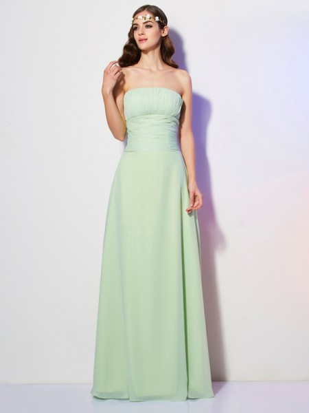 A-Line/Princess Strapless Sleeveless Floor-Length Chiffon Dresses with Pleats