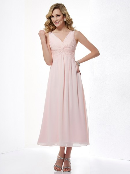 A-Line/Princess Sleeveless V-neck Chiffon Tea-Length Dresses with Pleats Beading