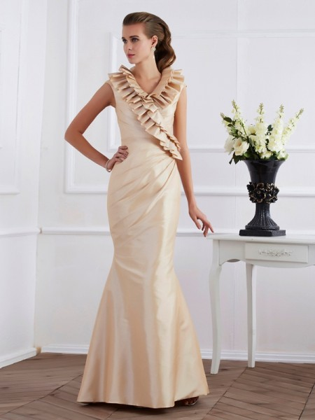 Sheath/Column Floor-Length Short Sleeves Taffeta Dresses with Ruffles