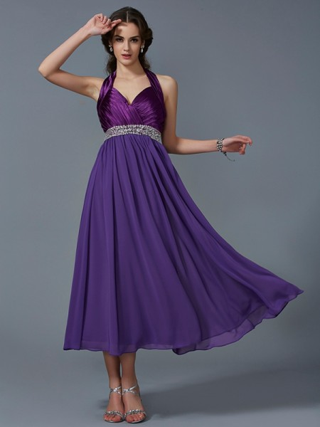 A-Line/Princess Halter Sleeveless Ankle-Length Chiffon Dresses with Beading