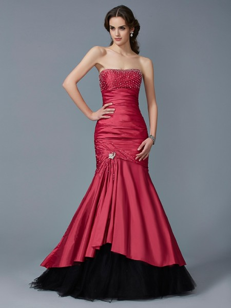 Trumpet/Mermaid Strapless Sleeveless Floor-Length Taffeta Dresses with Beading