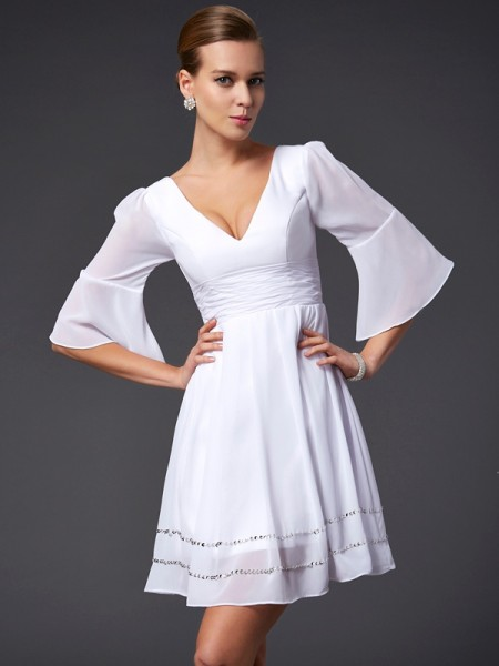 A-Line/Princess V-neck 1/2 Sleeves Chiffon Short Dresses with Beading