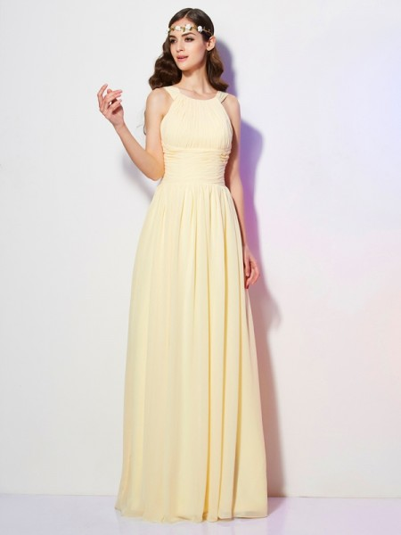 A-Line/Princess Bateau Sleeveless Floor-Length Chiffon Dresses with Pleats