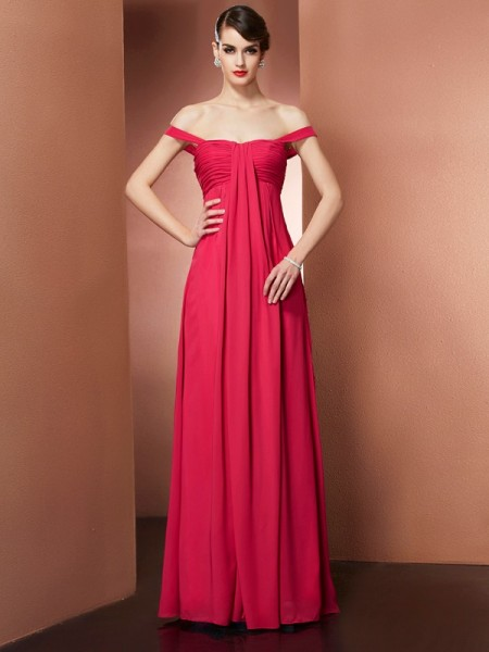 A-Line/Princess Off-the-Shoulder Sleeveless Floor-Length Chiffon Dresses with Pleats