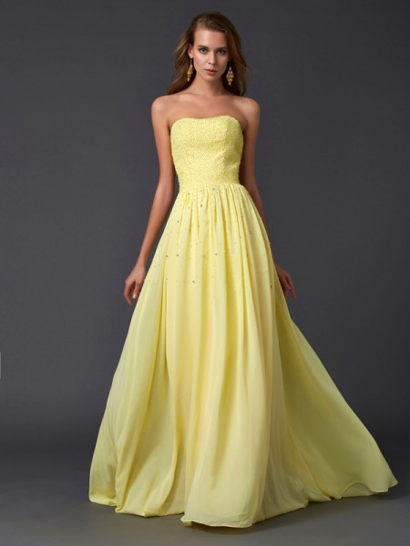 A-Line/Princess Strapless Sleeveless Chiffon Sweep/Brush Train Dresses with Pleats Beading