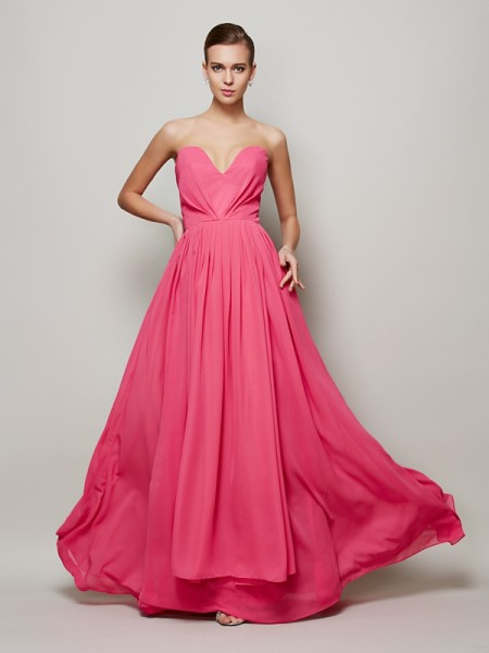 A-Line/Princess Sweetheart Floor-Length Sleeveless Chiffon Dresses with Pleats