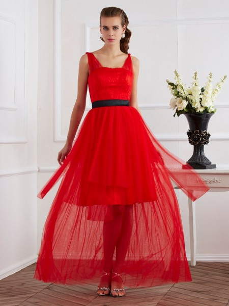A-Line/Princess Straps Ankle-Length Sleeveless Elastic Woven Satin Dresses with Pleats