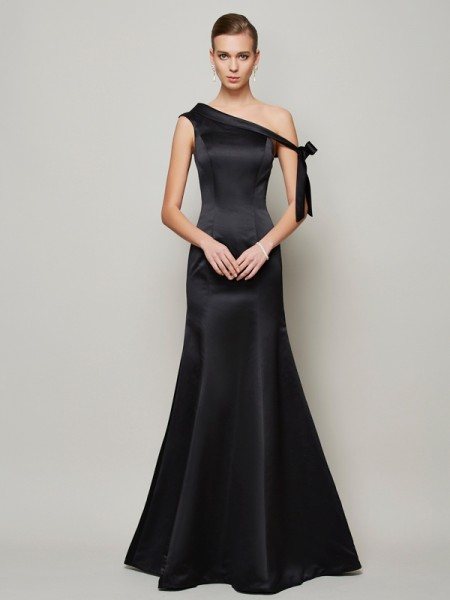 Trumpet/Mermaid One-Shoulder Sleeveless Bowknot Floor-Length Satin Evening/Formal Dresses