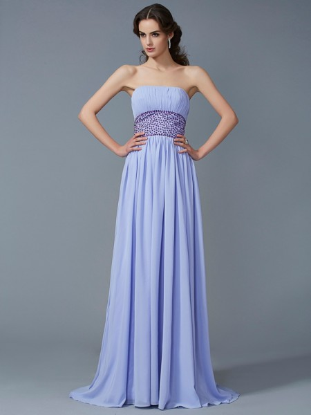 A-Line/Princess Strapless Sleeveless Sweep/Brush Train Chiffon Dresses with Beading