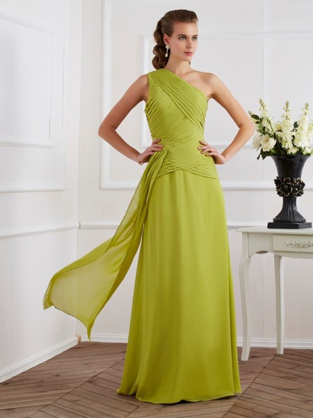 A-Line One-Shoulder Floor-Length Chiffon Dresses with Pleats