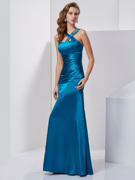 Sheath/Column Silk like Satin Sleeveless Straps Long Dresses with Beading