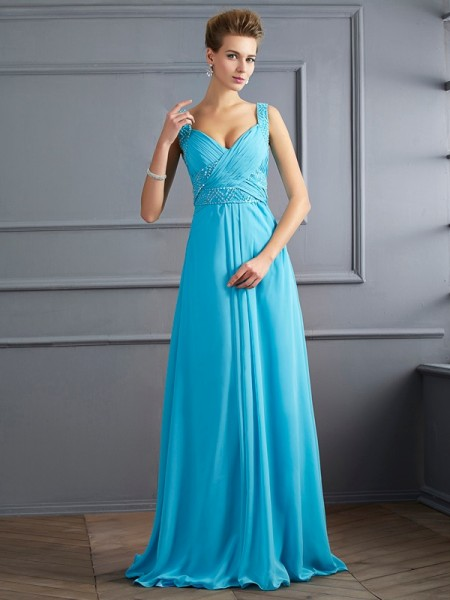 A-Line/Princess Straps Sleeveless Chiffon Long Dresses with Pleats