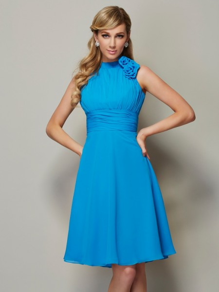A-Line/Princess High Neck Sleeveless Knee-Length Chiffon Bridesmaid Dresses with Pleats