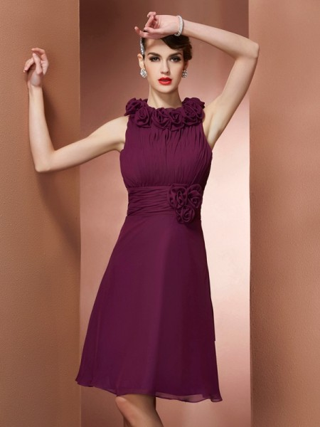 A-Line/Princess High Neck Sleeveless Knee-Length Bridesmaid Dresses with Hand-Made Flower