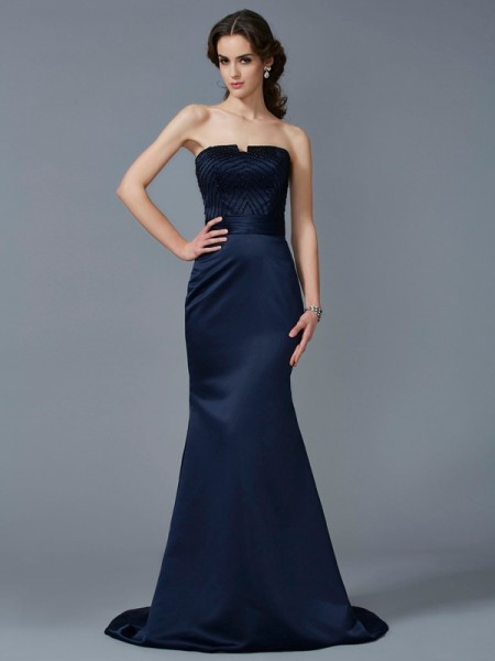 Trumpet/Mermaid Strapless Sleeveless Sweep/Brush Train Satin Dresses with Beading