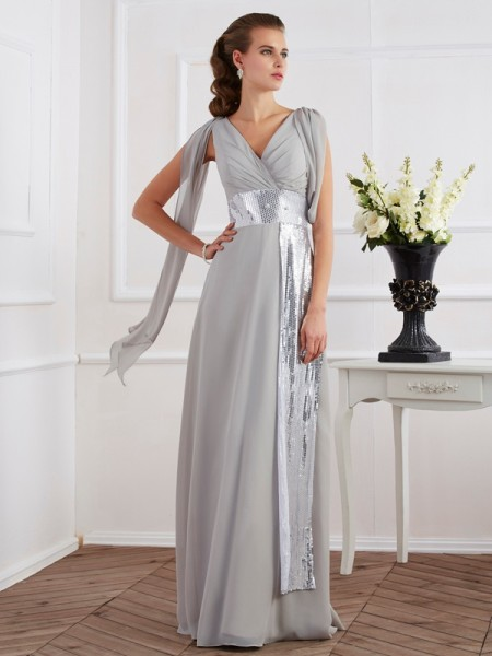 Sheath/Column V-neck Short Sleeves Floor-Length Chiffon Prom/Evening Dresses