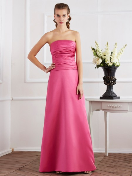 Sheath/Column Sleeveless Strapless Satin Long Dresses with Pleats
