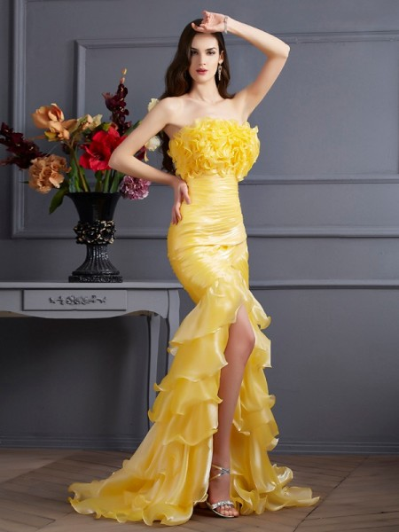 Trumpet/Mermaid Strapless Sleeveless Sweep/Brush Train Tulle Dresses with Ruffles