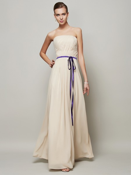 A-Line/Princess Strapless Floor-Length Chiffon Dresses with Sash/Ribbon/Belt Pleats
