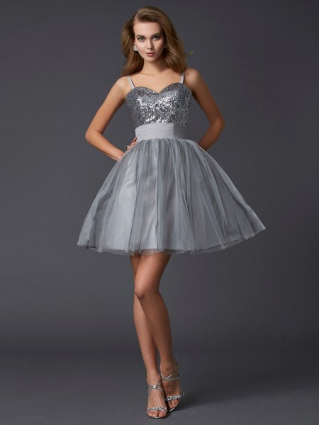 A-Line/Princess Spaghetti Straps Sleeveless Organza Short Cocktail/Homecoming Dresses
