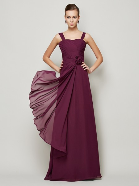 A-Line/Princess Straps  Sleeveless Chiffon Dresses with Hand-Made Flower Pleats