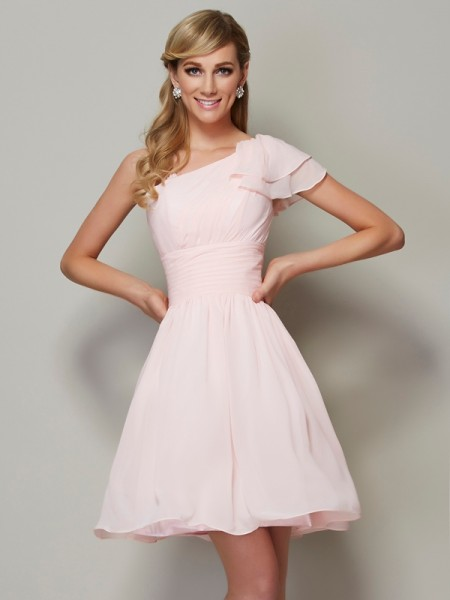 A-Line/Princess Straps Sleeveless Chiffon Short/Mini Bridesmaid Dresses with Pleats